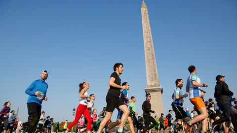 <p>               FILE  - In this Sunday, April 14, 2019 file photo, competitors in the Paris Marathon run past the Cleopatra's Needle at the Place de la Concorde in Paris, France.  The Paris Marathon has been canceled because of the coronavirus after repeated attempts to find a new date, organizers said Wednesday, Aug. 12, 2020. The race was originally due to take place in April but was then moved to October. Organizers said they'd recently tried to rearrange the race for November but continuing travel restrictions made that unrealistic. (AP Photo/Thibault Camus, File)             </p>