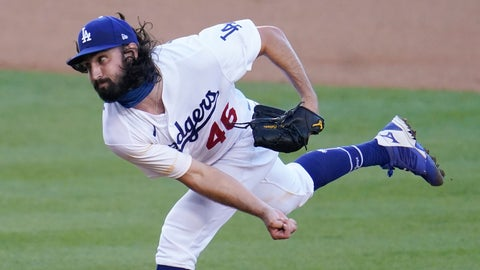 <p>               Los Angeles Dodgers starter Tony Gonsolin throws to the San Diego Padres during the first inning of a baseball game Wednesday, Aug. 12, 2020, in Los Angeles. (AP Photo/Marcio Jose Sanchez)             </p>