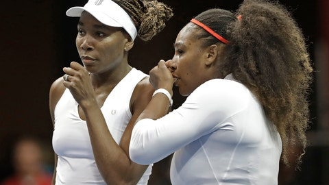 <p>               FILE - In this Sunday, Feb. 11, 2018, file photo, USA's Venus Williams, left, and Serena Williams, right, talk between points in their doubles match against Netherlands' Leslie Herkhove and Demi Schuurs in the first round of Fed Cup tennis competition in Asheville, N.C. The siblings meet each other for the 31st time when they take the court at a WTA tournament in Kentucky on Thursday, Aug. 13, 2020. (AP Photo/Chuck Burton, File)             </p>