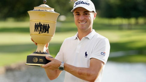 <p>               Justin Thomas holds the trophy after winning the World Golf Championship-FedEx St. Jude Invitational Sunday, Aug. 2, 2020, in Memphis, Tenn. (AP Photo/Mark Humphrey)             </p>