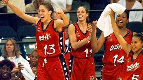 <p>               FILE - In this July 27, 1996, file photo, USA's Rebecca Lobo (13) leads the team off the bench to cheer at the end of their 96-79 victory over Australia in women's Olympic basketball at the Georgia Dome in Atlanta. From left are Lobo, Katy Steding (11), Venus Lacey (14), and Dawn Staley (5). (AP Photo/Elise Amendola, File)             </p>