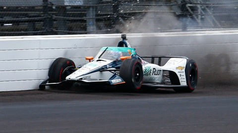 <p>               The car driven by Fernando Alonso, of Spain, hits the wall in the fourth turn during practice for the Indianapolis 500 auto race at Indianapolis Motor Speedway in Indianapolis, Thursday, Aug. 13, 2020. (AP Photo/Kirk Stierwalt)             </p>