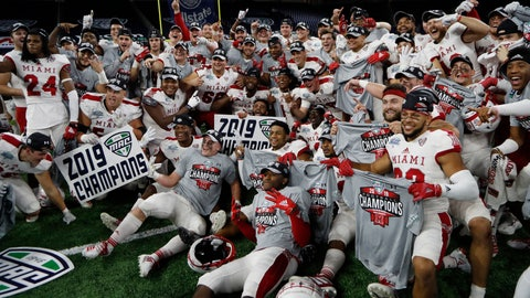 <p>               FILE - In this Dec. 7, 2019, file photo, members of the Miami of Ohio team pose on the field after the Mid-American Conference championship NCAA college football game against Central Michigan, in Detroit. The Mid-American Conference on Saturday, Aug. 8, 2020, became the first league competing at college football's highest level to cancel its fall season because of COVID-19 concerns. A person with knowledge of the decision told The Associated Press the university president's voted to not play in the fall and consider a spring season. The person spoke to AP on condition of anonymity because an official announcement was still being prepared.(AP Photo/Carlos Osorio, File)             </p>