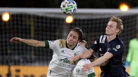 <p>               Portland Timbers defender Jorge Villafana, left, and New York City midfielder Gary Mackay-Steven battle for the ball during the second half of an MLS soccer match, Saturday, Aug. 1, 2020, in Kissimmee, Fla. (AP Photo/John Raoux)             </p>