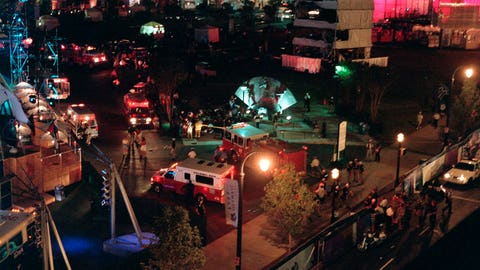 <p>               FILE - This Saturday morning, July 27, 1996, file photo shows an overview of Centennial Park in Atlanta after an explosion struck a tower near a stage where thousands of people were watching a concert(AP Photo/Clive Brooks, File)             </p>