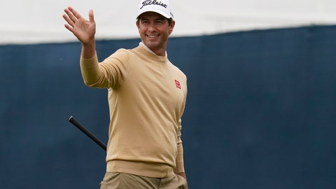 <p>               Adam Scott, of Australia, gestures toward the 15th fairway during practice for the PGA Championship golf tournament at TPC Harding Park in San Francisco, Tuesday, Aug. 4, 2020. (AP Photo/Jeff Chiu)             </p>