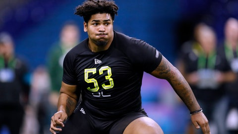 <p>               FILE - In this Feb. 28, 2020, file photo, Iowa offensive lineman Tristan Wirfs runs a drill at the NFL football scouting combine in Indianapolis. Wirfs was selected by the Tampa Bay Buccaneers in the first round of the NFL draft. (AP Photo/Charlie Neibergall, File)             </p>