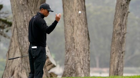 <p>               Tiger Woods toss a ball down on the 17th hold during a practice round for the PGA Championship golf tournament at TPC Harding Park Wednesday, Aug. 5, 2020, in San Francisco. (AP Photo/Charlie Riedel)             </p>