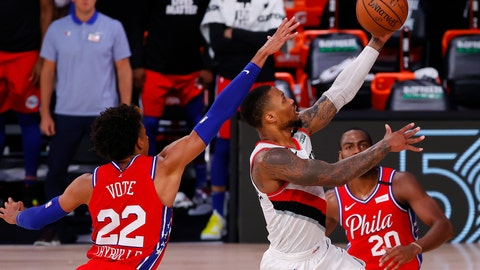 <p>               Portland Trail Blazers' Damian Lillard shoots next to Philadelphia 76ers' Matisse Thybulle, left, during the fourth quarter of an NBA basketball game Sunday, Aug. 9, 2020, in Lake Buena Vista, Fla. (Kevin C. Cox/Pool Photo via AP)             </p>