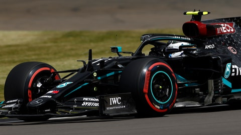 <p>               Mercedes driver Valtteri Bottas of Finland steers his car during the third free practice session for the British Formula One Grand Prix at the Silverstone racetrack, Silverstone, England, Saturday, Aug. 1, 2020. The British Formula One Grand Prix will be held on Sunday. (Andrew Boyers/Poolvia AP)             </p>