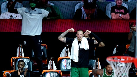 <p>               The Boston Celtics bench reacts after Robert Williams III dropped a dunk on the Toronto Raptors during the second half of an NBA basketball game Friday, Aug. 7, 2020 in Lake Buena Vista, Fla. (AP Photo/Ashley Landis, Pool)             </p>