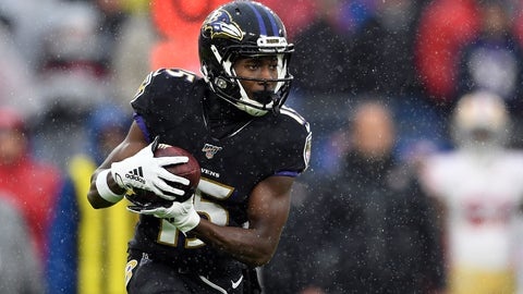 <p>               FILE - In this Dec. 1, 2019, file photo, Baltimore Ravens wide receiver Marquise Brown (15) runs with the ball during the first half of an NFL football game against the San Francisco 49ers in Baltimore, Md. Brown put up some respectable numbers as a rookie last year with the Ravens, leading the team's wide receivers in receptions and touchdowns as the primary downfield target for NFL MVP Lamar Jackson. (AP Photo/Nick Wass, File)             </p>