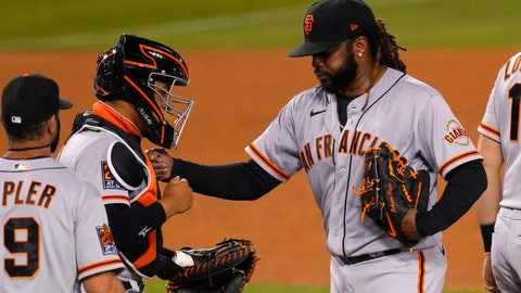 <p>               San Francisco Giants starting pitcher Johnny Cueto, right, pats catcher Chadwick Tromp, center, on the chest before being taken out of a baseball game by manager Gabe Kapler during the sixth inning against the Los Angeles Dodgers, Saturday, Aug. 8, 2020, in Los Angeles. (AP Photo/Mark J. Terrill)             </p>