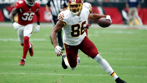<p>               FILE - In this Sept. 9, 2018, file photo, Washington Redskins tight end Jordan Reed (86) runs with the ball during an NFL football game against the Arizona Cardinals in Glendale, Ariz. The San Francisco 49ers have agreed on a one-year contract with Jordan. (AP Photo/Rick Scuteri, File)             </p>