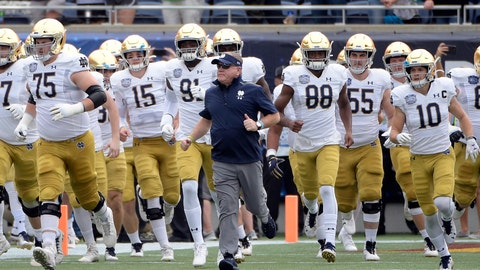 <p>               FILE - In this Dec. 28, 2019, file photo, Notre Dame head coach Brian Kelly, center, runs onto the field with his players before the Camping World Bowl NCAA college football game against Iowa State in Orlando, Fla. The Atlantic Coast Conference and Notre Dame are considering whether the Fighting Irish will give up their treasured football independence for the 2020 season play as a member of the league. (AP Photo/Phelan M. Ebenhack, File)             </p>