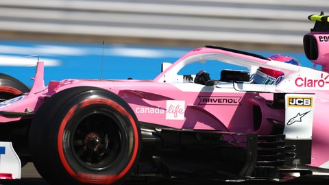 <p>               Racing Point driver Lance Stroll of Canada steers his car during the first practice session for the British Formula One Grand Prix at the Silverstone circuit in Silverstone, England, Friday, July 31, 2020. The British Formula One Grand Prix race will be held on Sunday. (Bryn Lennon/Pool via AP)             </p>