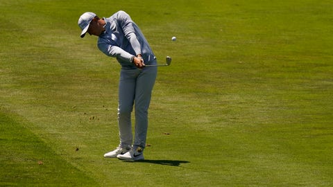<p>               Cameron Champ hits from the fairway on the 18th hole during the second round of the PGA Championship golf tournament at TPC Harding Park Friday, Aug. 7, 2020, in San Francisco. (AP Photo/Jeff Chiu)             </p>