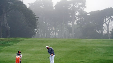 <p>               Rickie Fowler hits toward the 13th green during practice for the PGA Championship golf tournament at TPC Harding Park in San Francisco, Tuesday, Aug. 4, 2020. (AP Photo/Jeff Chiu)             </p>