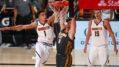 <p>               Oklahoma City Thunder forward Danilo Gallinari (8) dunks the ball against Denver Nuggets forward Michael Porter Jr. (1) during overtime in an NBA basketball game Monday, Aug. 3, 2020, in Lake Buena Vista, Fla. (Kim Klement/Pool Photo via AP)             </p>