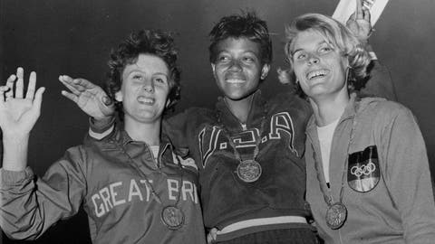<p>               FILE - In this Sept. 5, 1960, file photo, the medalists in the women's 200-meter event, from left, bronze medalist Dorothy Hyman, of Great Britain; gold medalist Wilma Rudolph, of the United States, and silver medalist Jutta Heine, of Germany, pose with their medals at the Olympic stadium in Rome, Italy. The 1960 Rome Summer Olympics set the standard for every Olympiad to follow. These Games were the first televised in the United States, even if film of events had to be flown from Rome to New York where Jim McKay did the voice-overs the next day. (AP Photo/File)             </p>