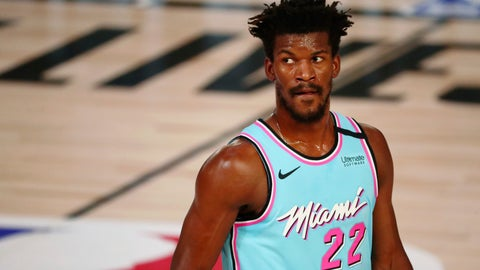 <p>               Miami Heat forward Jimmy Butler waits between plays during the first half of the team's NBA basketball game against the Indiana Pacers on Monday, Aug. 10, 2020, in Lake Buena Vista, Fla. (Kim Klement/Pool Photo via AP)             </p>