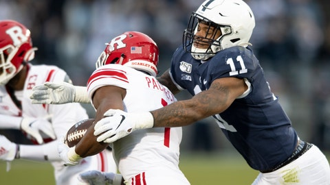 <p>               FILE - In this Nov. 30, 2019, file photo, Penn State linebacker Micah Parsons (11) tackles Rutgers tight end Johnathan Lewis (11) in the first quarter of an NCAA college football game, in State College, Pa. Penn State All-American Micah Parsons is opting out of the 2020 season because of concerns about COVID-19. The junior linebacker made his announcement with a social media post Thursday, Aug. 6, 2020. (AP Photo/Barry Reeger, File)             </p>