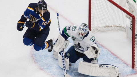 <p>               Vancouver Canucks goalie Jacob Markstrom (25) makes a save as St. Louis Blues' Brayden Schenn (10) jumps during the second period in Game 1 of an NHL hockey Stanley Cup first-round playoff series, Wednesday, Aug. 12, 2020, in Edmonton, Alberta. (Jason Franson/The Canadian Press via AP)             </p>