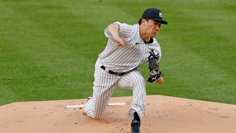 <p>               New York Yankees starting pitcher Masahiro Tanaka delivers during the first inning of a baseball game against the Atlanta Braves, Wednesday, Aug. 12, 2020, in New York. (AP Photo/Kathy Willens)             </p>