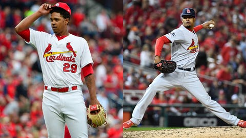 Apr 5, 2019; St. Louis, MO, USA; St. Louis Cardinals relief pitcher Alex Reyes (29) reacts after giving up a two run home run to San Diego Padres shortstop Fernando Tatis Jr. (not pictured) during the seventh inning at Busch Stadium. Mandatory Credit: Jeff Curry-USA TODAY Sports  Oct 14, 2019; Washington, DC, USA; St. Louis Cardinals relief pitcher Genesis Cabrera (61) delivers during the sixth inning of game three of the 2019 NLCS playoff baseball series against the Washington Nationals at Nationals Park. Mandatory Credit: Brad Mills-USA TODAY Sports