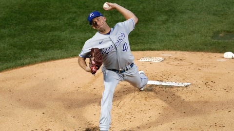 Kansas City Royals starting pitcher Danny Duffy delivers during the first inning of a baseball game against the Chicago Cubs Monday, Aug. 3, 2020, in Chicago. (AP Photo/Charles Rex Arbogast)