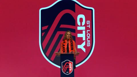 Carolyn Kindle Betz, CEO of the ownership group of St. Louis' MLS franchise, announces the team's name, St. Louis City SC, at a virtual event revealing the name, colors and crest on Aug. 13, 2020.