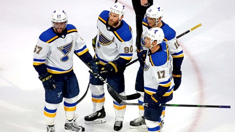 Aug 17, 2020; Edmonton, Alberta, CAN; St. Louis  against the Vancouver CanucksBlues center Ryan O'Reilly (90) celebrates with teammates after scoring a goal during the first period in game four of the first round of the 2020 Stanley Cup Playoffs at Rogers Place. Mandatory Credit: Gerry Thomas-USA TODAY Sports