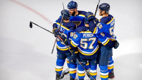 Aug 19, 2020; Edmonton, Alberta, CAN; St. Louis Blues defenseman Marco Scandella (6) and center Ryan O'Reilly (90) and left wing David Perron (57) and defenseman Colton Parayko (55) celebrates a goal scored by O'Reilly against the Vancouver Canucks during the first period in game five of the first round of the 2020 Stanley Cup Playoffs at Rogers Place. Mandatory Credit: Perry Nelson-USA TODAY Sports