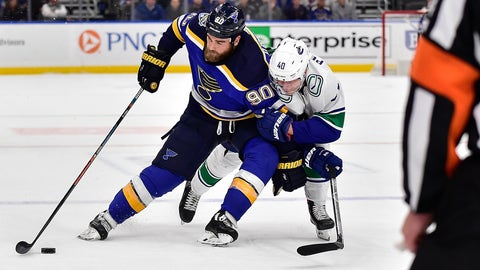 Oct 17, 2019; St. Louis, MO, USA; St. Louis Blues center Ryan O'Reilly (90) handles the puck as Vancouver Canucks center Elias Pettersson (40) defends during overtime at Enterprise Center. Mandatory Credit: Jeff Curry-USA TODAY Sports