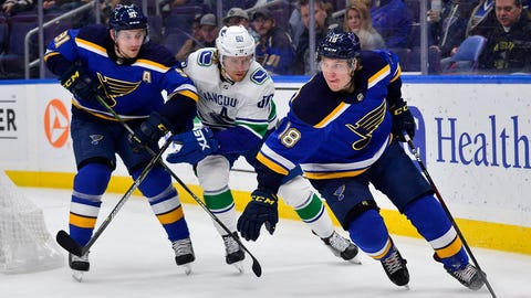 Dec 9, 2018; St. Louis, MO, USA; St. Louis Blues center Robert Thomas (18) handles the puck as right wing Vladimir Tarasenko (91) defends against Vancouver Canucks center Markus Granlund (60) during the third period at Enterprise Center. Mandatory Credit: Jeff Curry-USA TODAY Sports