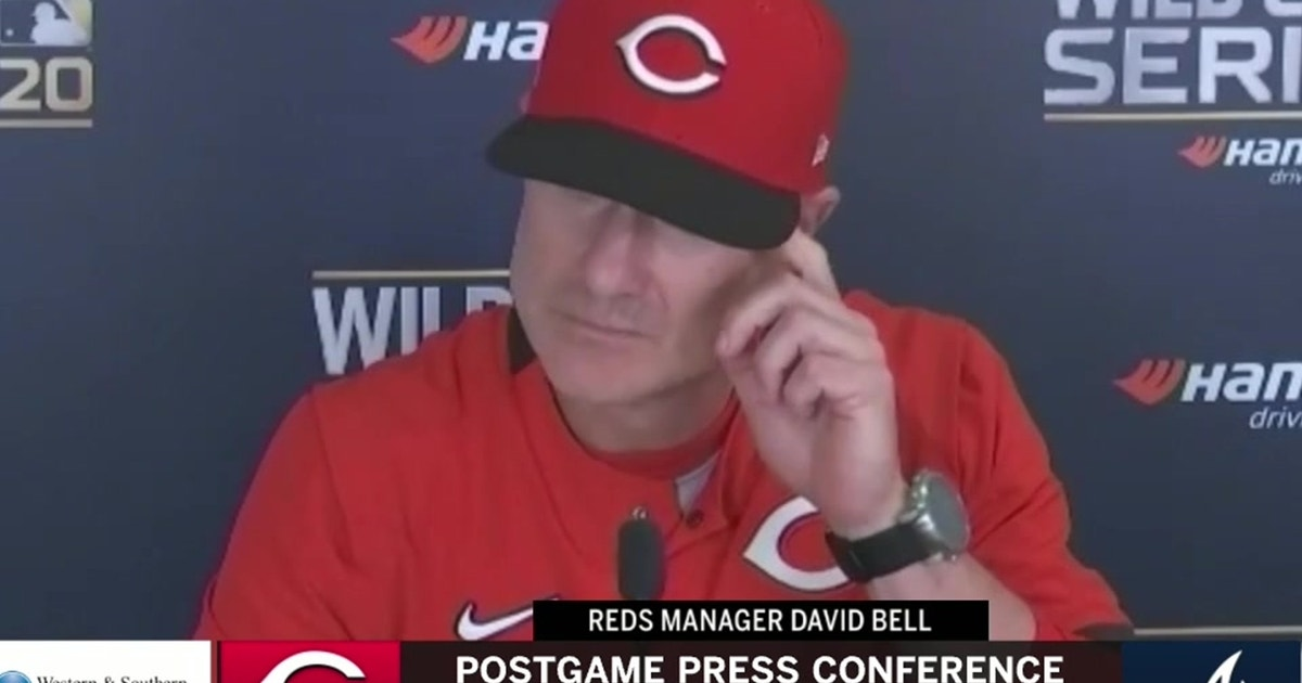 David Bell reacts to the Reds poor offensive performance in game 1