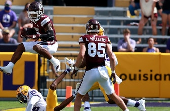 Kylin Hill 75-yard touchdown catch gives Mississippi State 27-24 lead over No 6 LSU