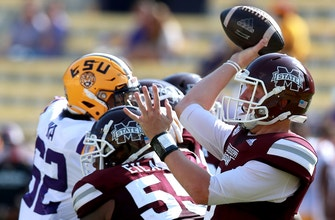 K. J. Costello throws for SEC record 623 yards as Mississippi State upsets No. 6 LSU, 44-34