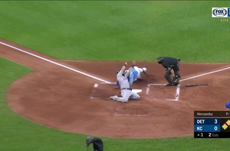 WATCH: Gordon throws out Romine at the plate for 102nd outfield assist
