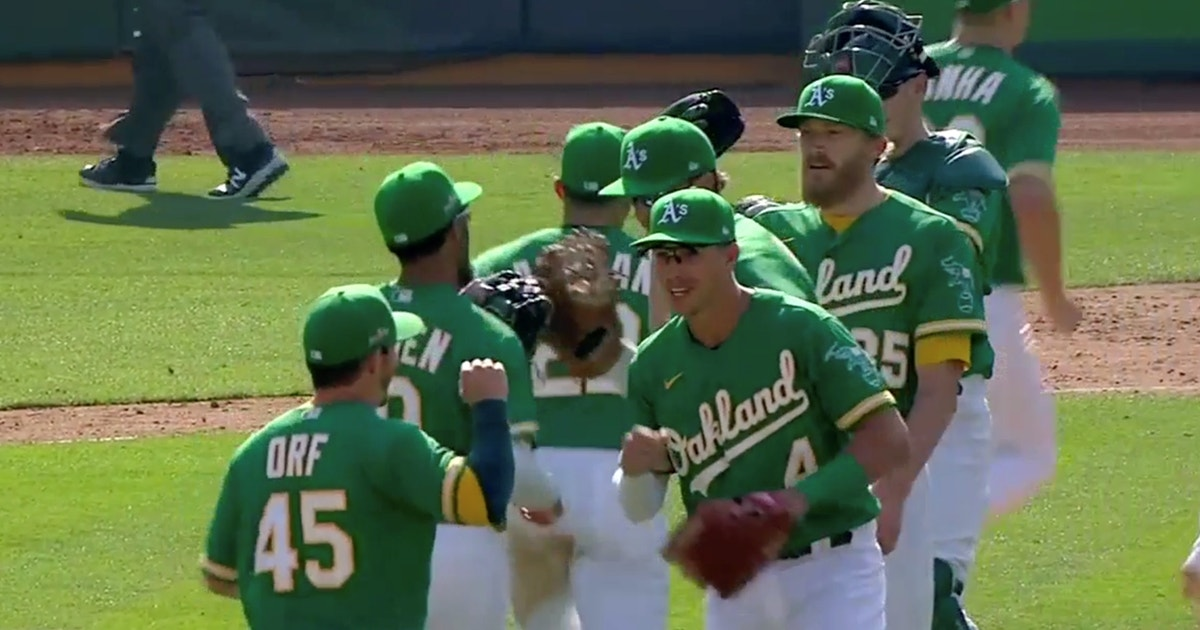 Watch Athletics avoid disaster, pitch out of bases-loaded jam in 9th to win Game 2