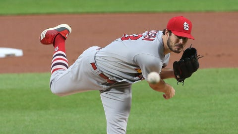 Sep 17, 2020; Pittsburgh, Pennsylvania, USA;  St. Louis Cardinals starting pitcher Dakota Hudson (43) delivers a pitch against the Pittsburgh Pirates during the first inning at PNC Park. Mandatory Credit: Charles LeClaire-USA TODAY Sports
