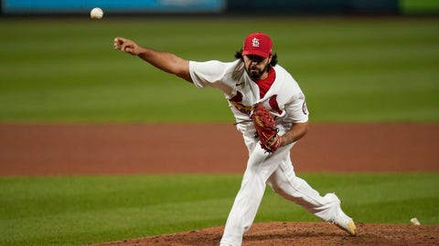 St. Louis Cardinals pitcher Nabil Crismatt throws during the ninth inning of a baseball game against the Cincinnati Reds Friday, Sept. 11, 2020, in St. Louis. (AP Photo/Jeff Roberson)