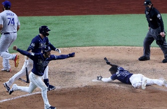 Rays walk off Dodgers in World Series Game 4, pull even in the series, 2-2