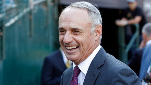 Oct 2, 2019; Oakland, CA, USA; Major League Baseball commissioner Rob Manfred smiles before the 2019 American League Wild Card playoff baseball game between the Oakland Athletics and the Tampa Bay Rays at RingCentral Coliseum. Mandatory Credit: Darren Yamashita-USA TODAY Sports