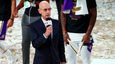 Oct 11, 2020; Lake Buena Vista, Florida, USA; NBA Commissioner Adam Silver during the trophy presentation after game six of the 2020 NBA Finals between the Los Angeles Lakers and the Miami Heat at AdventHealth Arena. The Los Angeles Lakers won 106-93 to win the series. Mandatory Credit: Kim Klement-USA TODAY Sports