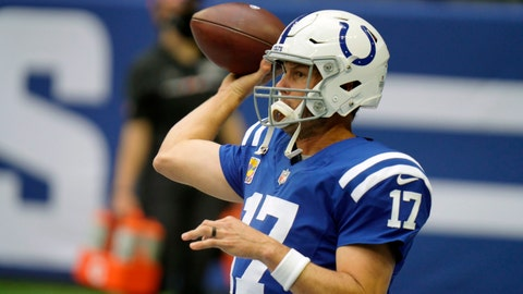 Indianapolis Colts quarterback Philip Rivers throws before an NFL football game against the Cincinnati Bengals, Sunday, Oct. 18, 2020, in Indianapolis. (AP Photo/AJ Mast)