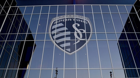 Feb 21, 2019; Kansas City, MO, USA; A general view of the exterior Sporting Kansas City logo on the stadium before the game against Toluca at Children's Mercy Park. Mandatory Credit: Denny Medley-USA TODAY Sports