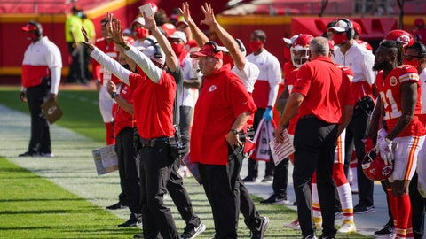 Oct 11, 2020; Kansas City, Missouri, USA; Kansas City Chiefs coaches and assistants gesture on the sidelines during the game against the Las Vegas Raiders at Arrowhead Stadium. Mandatory Credit: Denny Medley-USA TODAY Sports