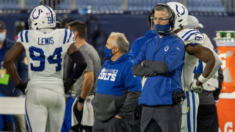 Frank Reich, head coach of the Colts, Indianapolis Colts at Tennessee Titans, Nissan Stadium, Nashville, Thursday, Nov. 12, 2020. Colts won 34-17.  81 Coltstitans Rs
