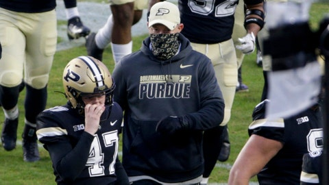 Purdue head coach Jeff Brohm walk across the field during the first quarter of a NCAA football game, Saturday, Nov. 14, 2020 at Ross-Ade Stadium in West Lafayette.  Cfb Purdue Vs Northwestern